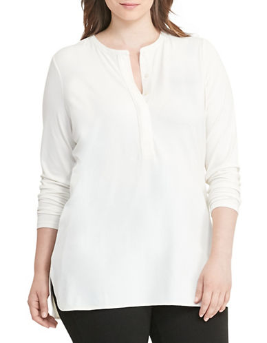 Lauren Ralph Lauren Plus Jersey Henley-WHITE-2X