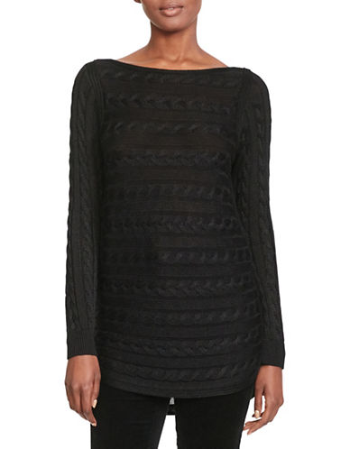 Lauren Ralph Lauren Cable-Knit Cotton Sweater-BLACK-X-Small 88862039_BLACK_X-Small