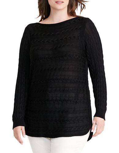 Lauren Ralph Lauren Plus Cable-Knit Cotton Sweater-BLACK-1X 88837709_BLACK_1X