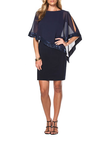 Chaps Georgette-Overlay Sheath Dress-CAPRI NAVY-6