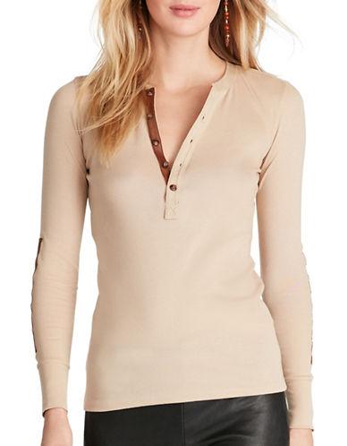 Polo Ralph Lauren Leather Trim Knit Henley-BEIGE-Medium 89046678_BEIGE_Medium