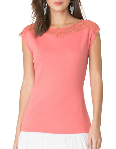 Chaps Lace-Yoke Cotton Tee-PINK-Medium 89090708_PINK_Medium
