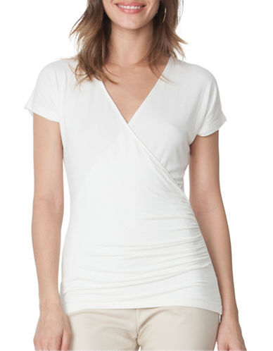 Chaps Faux-Wrap Jersey T-Shirt-WHITE-Small 89052184_WHITE_Small