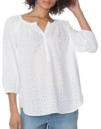 Chaps Eyelet Peasant Top-WHITE-Small 89090851_WHITE_Small