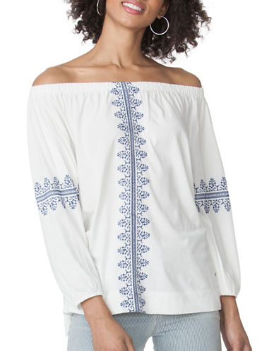 Chaps Embroidered Peasant Top-WHITE-X-Large 89052329_WHITE_X-Large