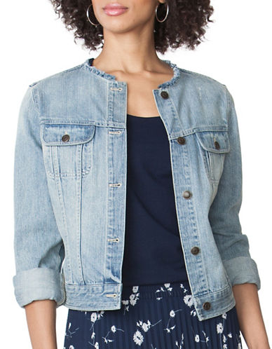 Chaps Frayed Denim Jacket-BLUE-X-Large 89052341_BLUE_X-Large