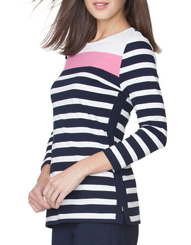 Chaps Striped Jersey Tee-PINK-Medium 89090917_PINK_Medium