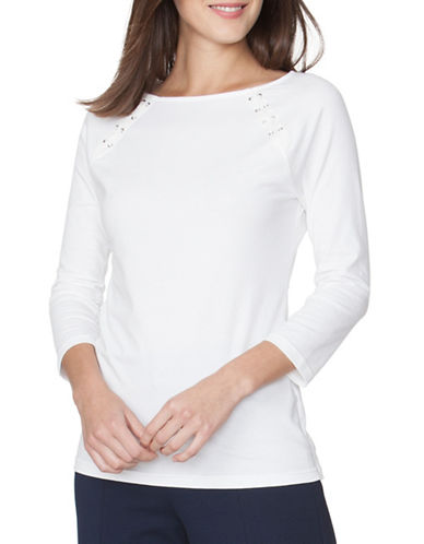 Chaps Lace-Up Jersey Tee-WHITE-X-Small 89090925_WHITE_X-Small