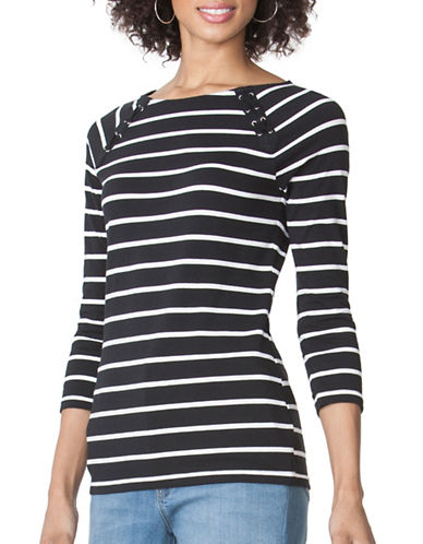 Chaps Petite Striped Lace-Up Tee-BLACK/WHITE-Petite X-Small