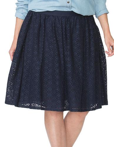 Chaps Plus A-Line Lace Skirt-BLUE-1X