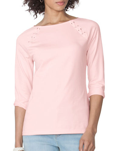 Chaps Lace-Up Jersey Tee-PINK-X-Small 89090935_PINK_X-Small