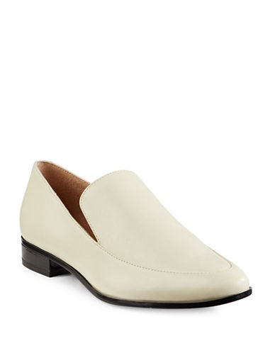 Calvin Klein Falaina Leather Loafers-WHITE-7.5