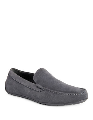 Calvin Klein Isaac Oily Leather Loafers-GREY-12