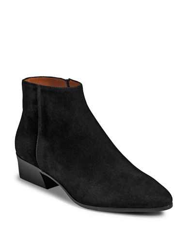 Aquatalia Fire Suede Dress Ankle Boots-BLACK-8.5