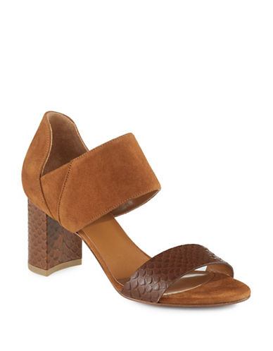Aquatalia Suzanne Suede and Embossed Leather Sandals-BROWN-5
