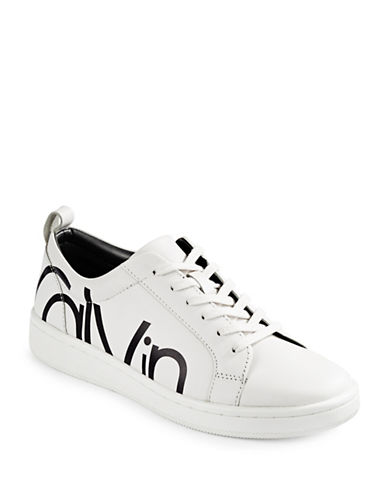 Calvin Klein Dayna Leather Logo Sneakers-WHITE-9