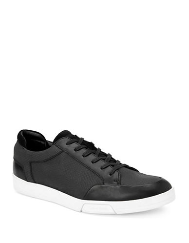 Calvin Klein Balin Embossed Leather Sneakers-BLACK-12