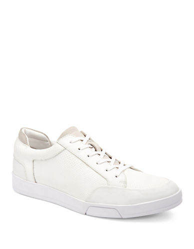 Calvin Klein Balin Embossed Leather Sneakers-WHITE-8.5