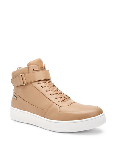 Calvin Klein Navin Leather High-Top Sneakers-CUOIO-12