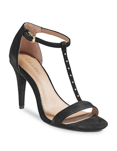 Calvin Klein Nashra Studded Suede Sandals-BLACK-7.5