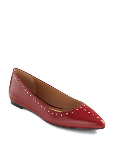 Calvin Klein Studded Leather Skimmer Flats-RED-35.5