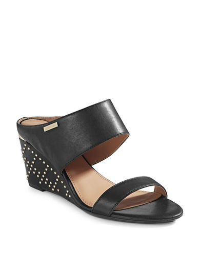 Calvin Klein Phyllis Studded Leather Wedges-BLACK-10