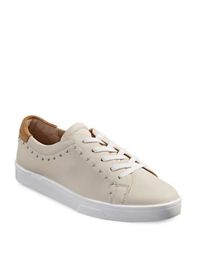 Calvin Klein Illia Cervo Studded Leather Sneakers-NATURAL-8