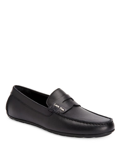 Calvin Klein Black Ivan Tumbled Leather Loafers-BLACK-10