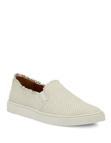 Frye Ivy Fray Woven Leather Slip-On Sneakers-WHITE-7