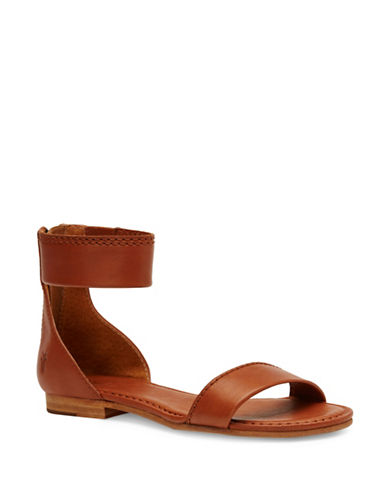 Frye Carson Leather Zip Sandals-BROWN-8