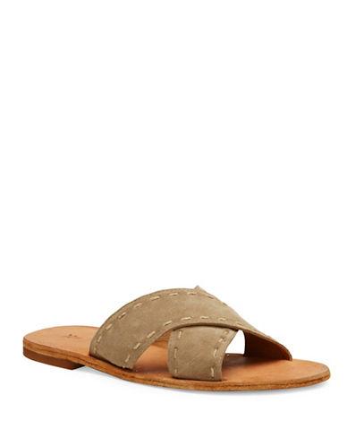 Frye Avery Pickstitch Leather Slides-GREY-8.5