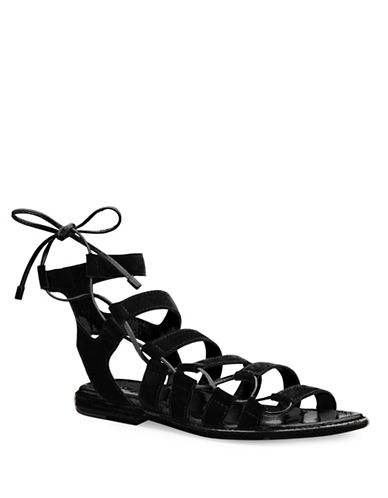 Frye Blair Leather Side Ghillie Sandals-BLACK-8.5