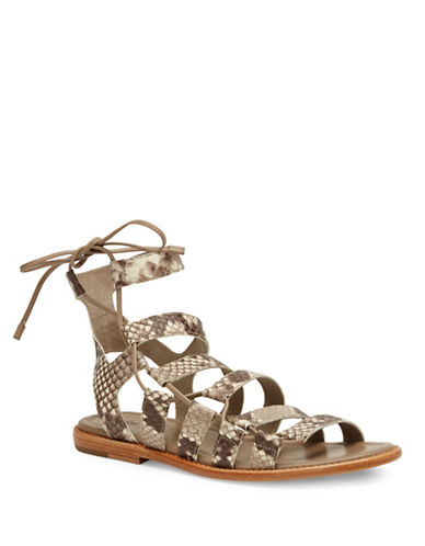 Frye Blair Leather Side Ghillie Sandals-SNAKESKIN-8