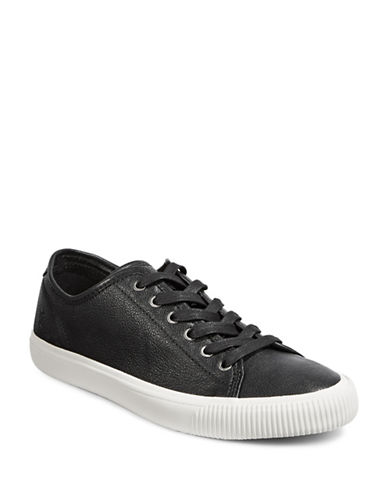 Frye Mens Patton Leather Low-Top Sneakers-BLACK-8.5