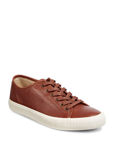 Frye Mens Patton Leather Low-Top Sneakers-BROWN-10.5