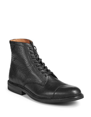 Frye Seth Cap Toe Leather Boots-BLACK-9