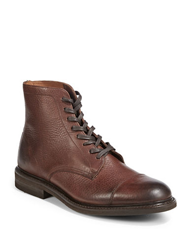 Frye Seth Cap Toe Leather Boots-BROWN-10