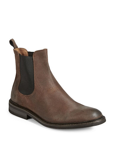 Frye Leather Chelsea Boots-DARK BROWN-12