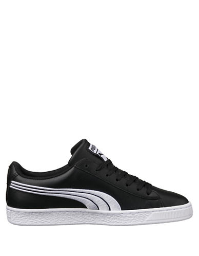 Puma Mens Basket Classic Badge Sneakers-BLACK-7.5