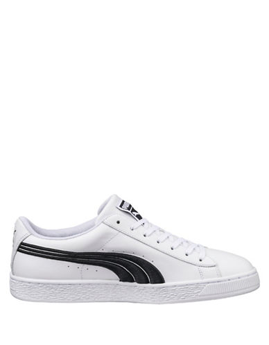 Puma Mens Basket Classic Badge Sneakers-WHITE-8.5