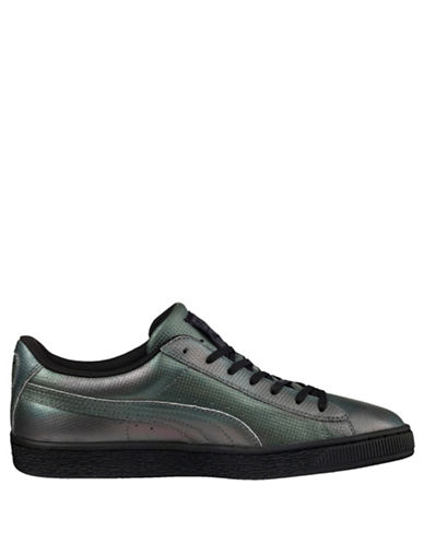 Puma Mens Basket Classic Holographic Sneakers-BLACK-11