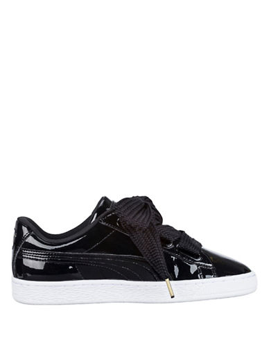 Puma Womens Basket Heart Patent Sneakers-BLACK-8.5