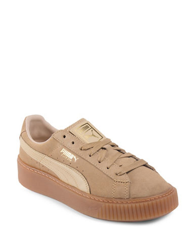 Puma Womens Basket Platform Suede Low Top Sneakers-BEIGE-8
