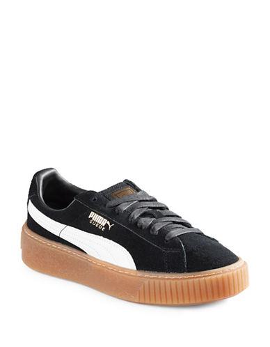 Puma Womens Suede Platform Sneakers-BLACK-8.5