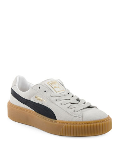 Puma Basket Platform Suede Low Top Sneakers-WHITE-8.5