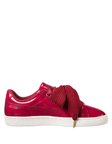 Puma Womens Basket Heart Lace-up Sneakers-RED-7.5