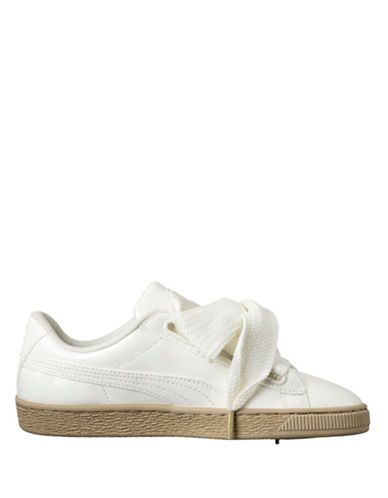 Puma Womens Basket Heart Lace-up Sneakers-WHITE-8