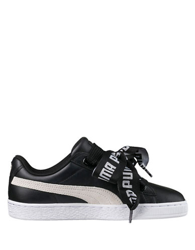 Puma Basket Heart Lace-up Sneakers-BLACK-8.5