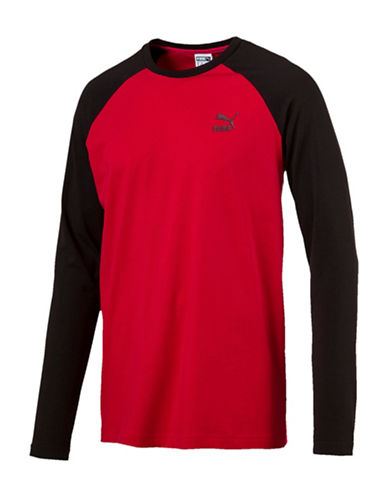 Puma Archive Logo Raglan Top-RED-X-Large