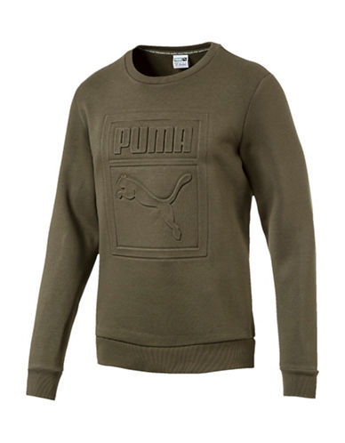 Puma Archive Embossed Crew Sweater-GREEN-XX-Large